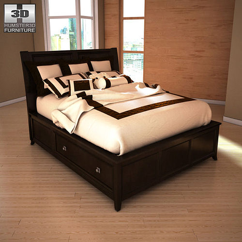 3d model ashley martini suite queen panel headboard bed vr 15973 | ashley martini suite queen panel headboard bed 3d model low poly max obj 3ds fbx