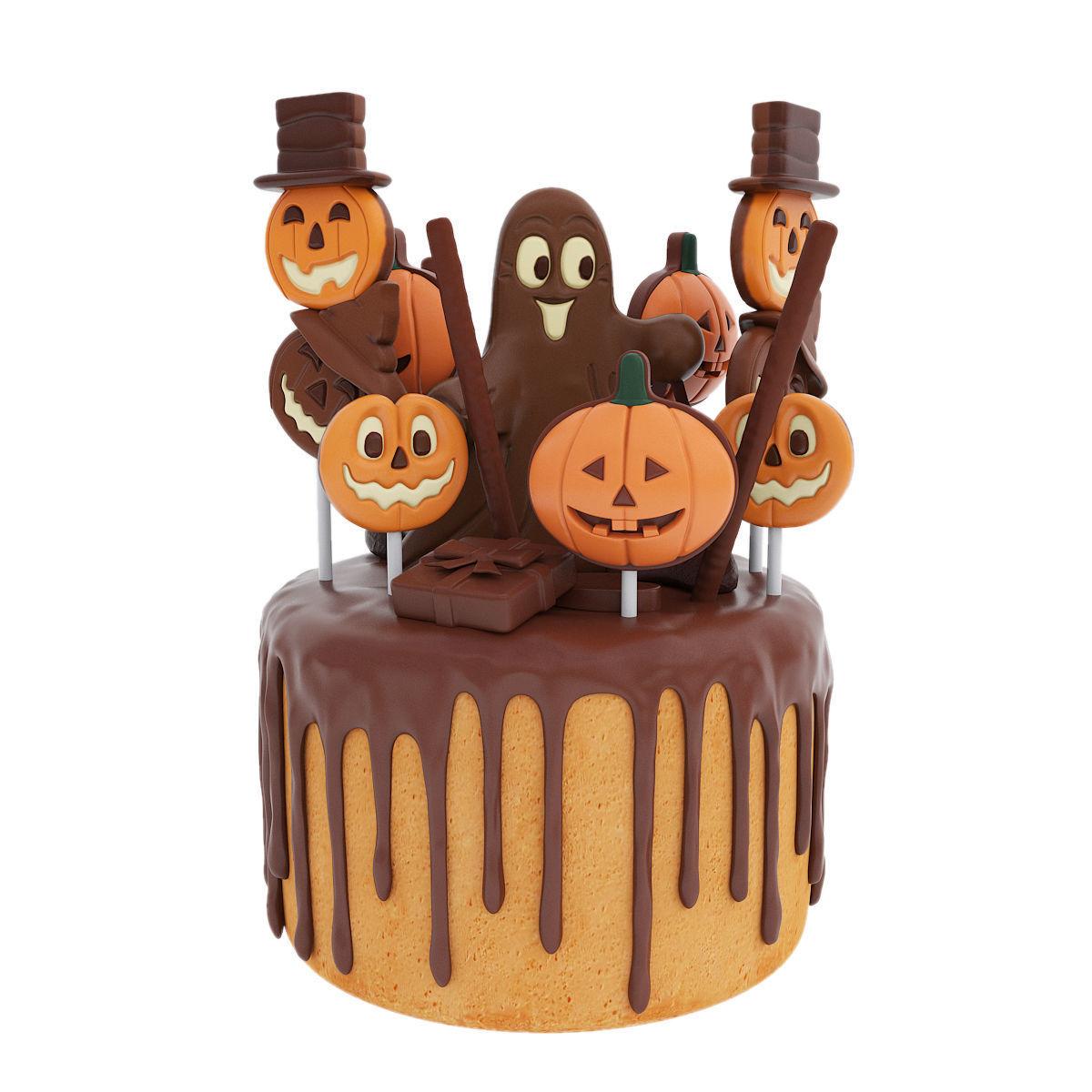 Halloween cake with pumpkin figurines