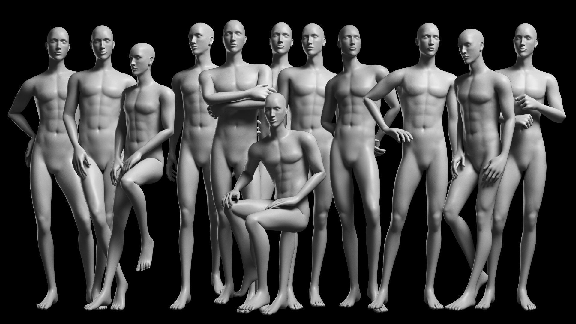 Animated Male Base Mesh - 12 poses