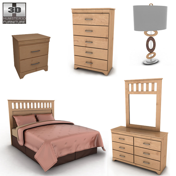 3d Model Ashley Bedroom Set Vr Ar Low Poly Max Obj 3ds Fbx Mtl