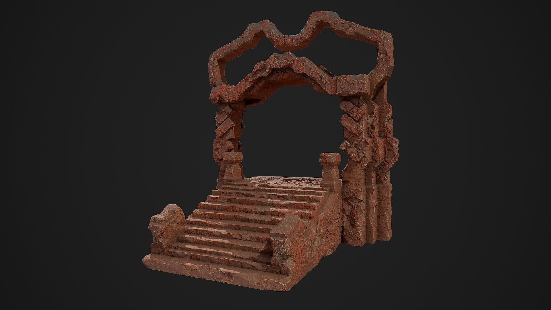 Fantasy red rocky portal environment asset