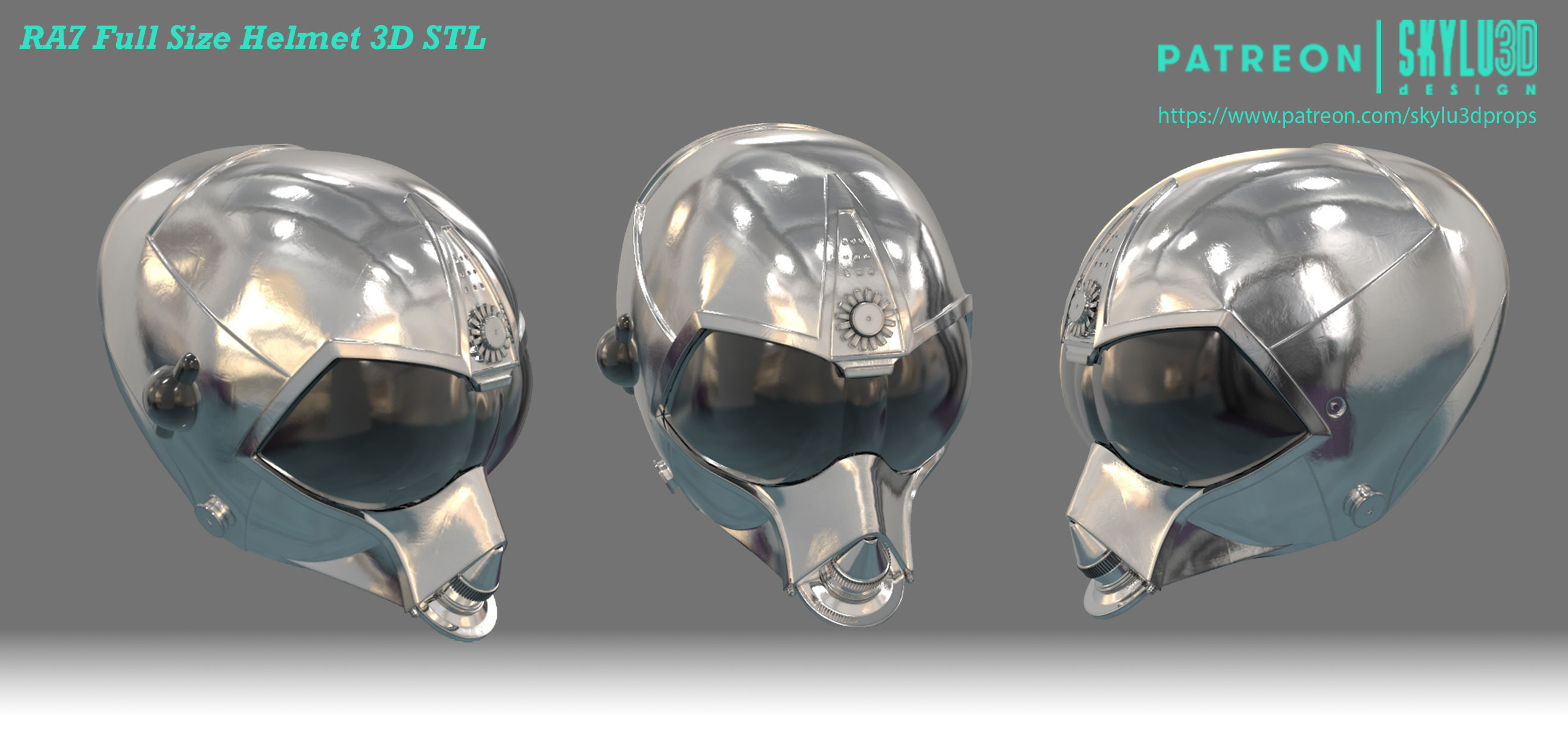 RA7 Full Size Wearable Helmet - 3D Print Ready STL