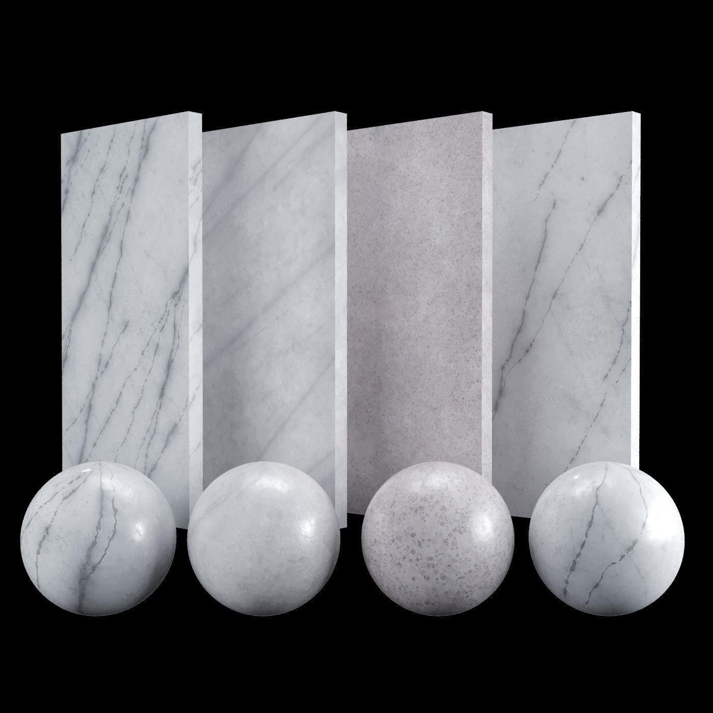 White Carrara 02 Marble Texture PBR Vray Corona 400 x 400 cm