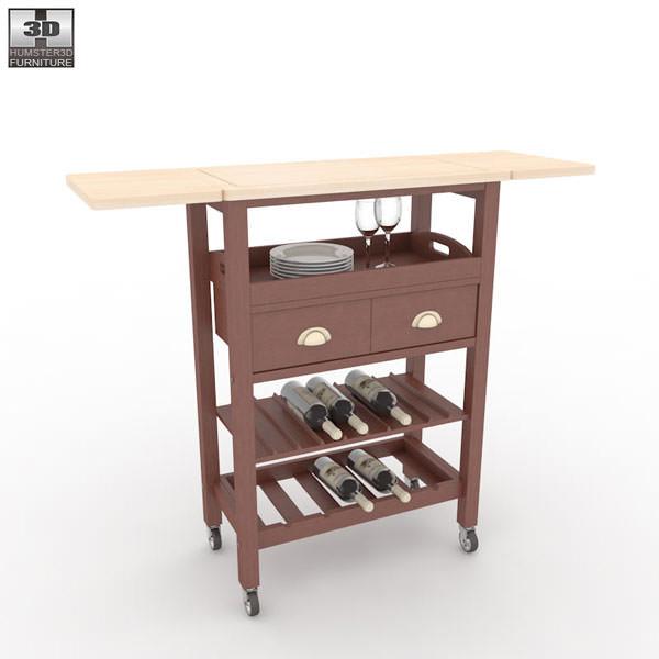 3d Model Julia Espresso Kitchen Cart Vr Ar Low Poly Max Obj 3ds Fbx Mtl