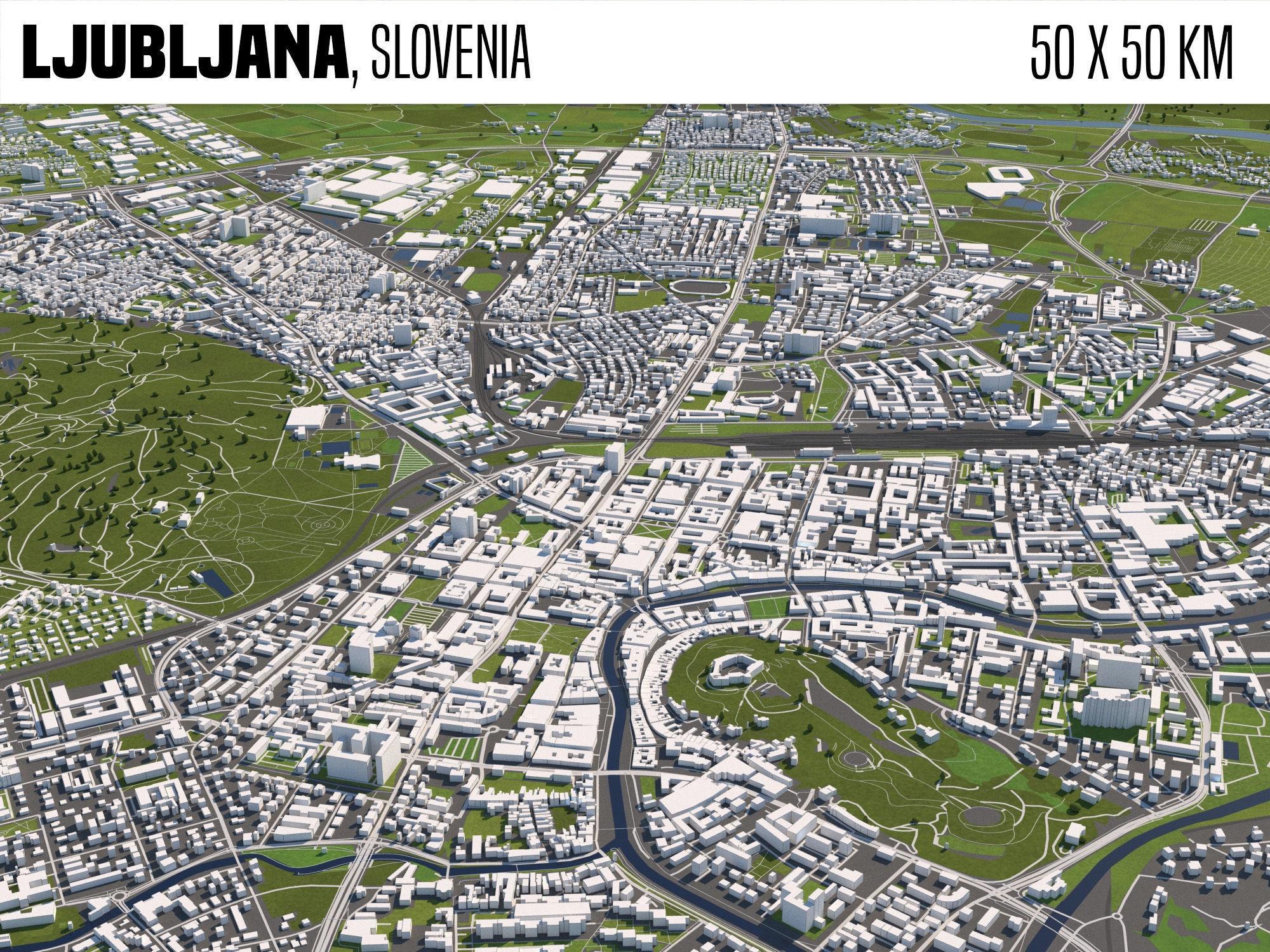 Ljubljana Slovenia 50x50km