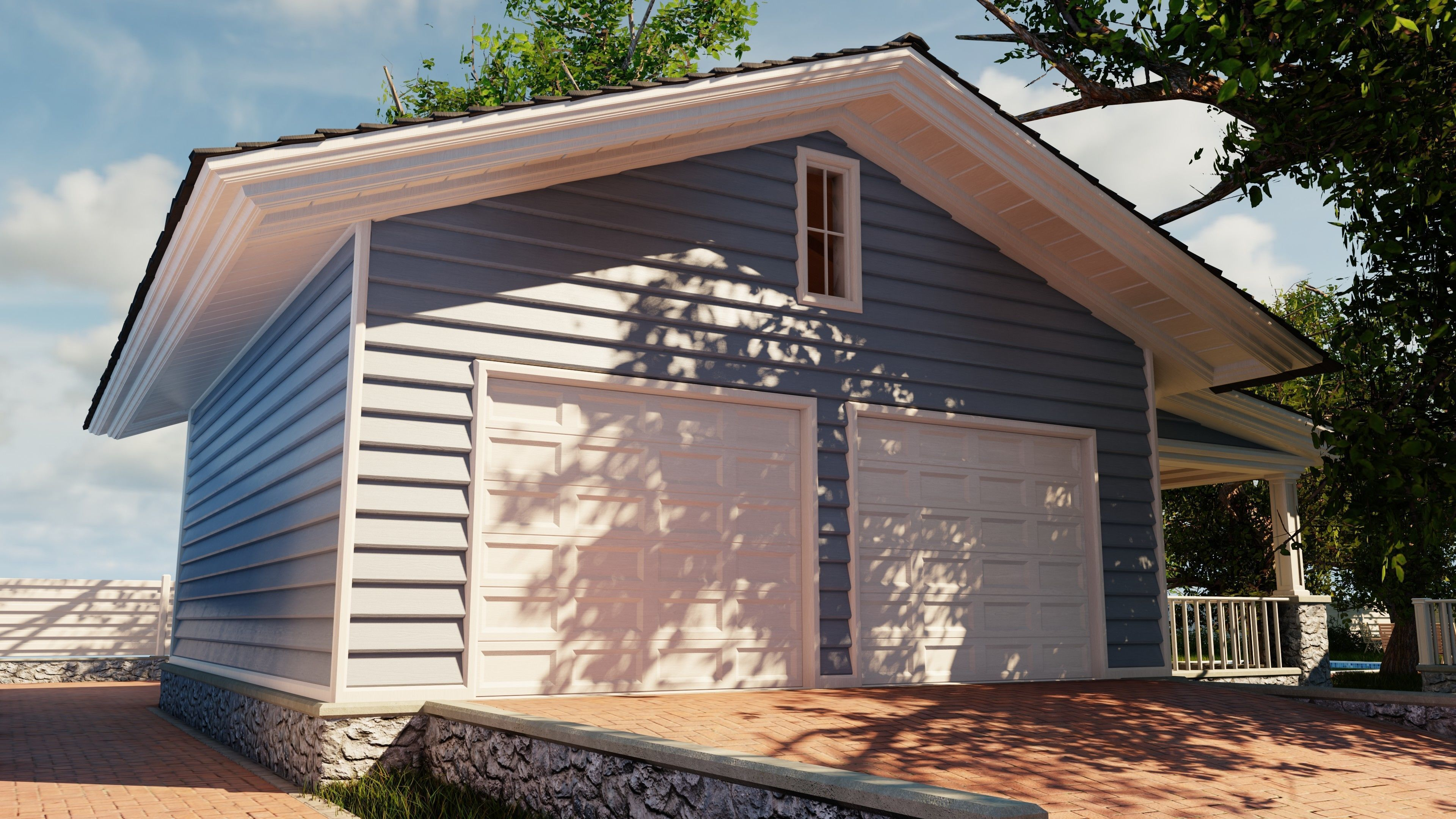 Classic style porch house garage only