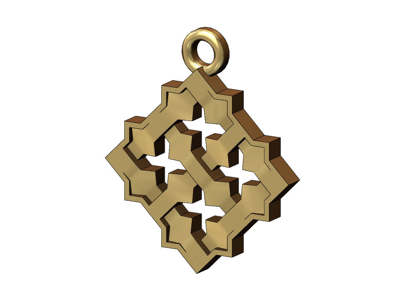 Square Moucharabieh pendant and charm