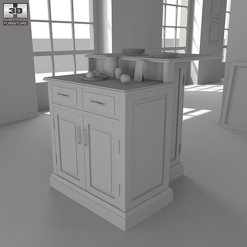 ... Woodbridge Two Tier Kitchen Island 3d Model Max Obj 3ds Fbx Mtl 3