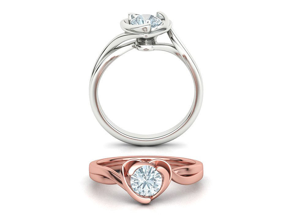 Brief Heart Solitaire Engagement ring version 2