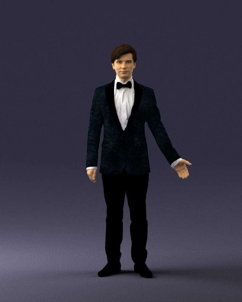 Boy in suit with bow tie 0462 3D print ready
