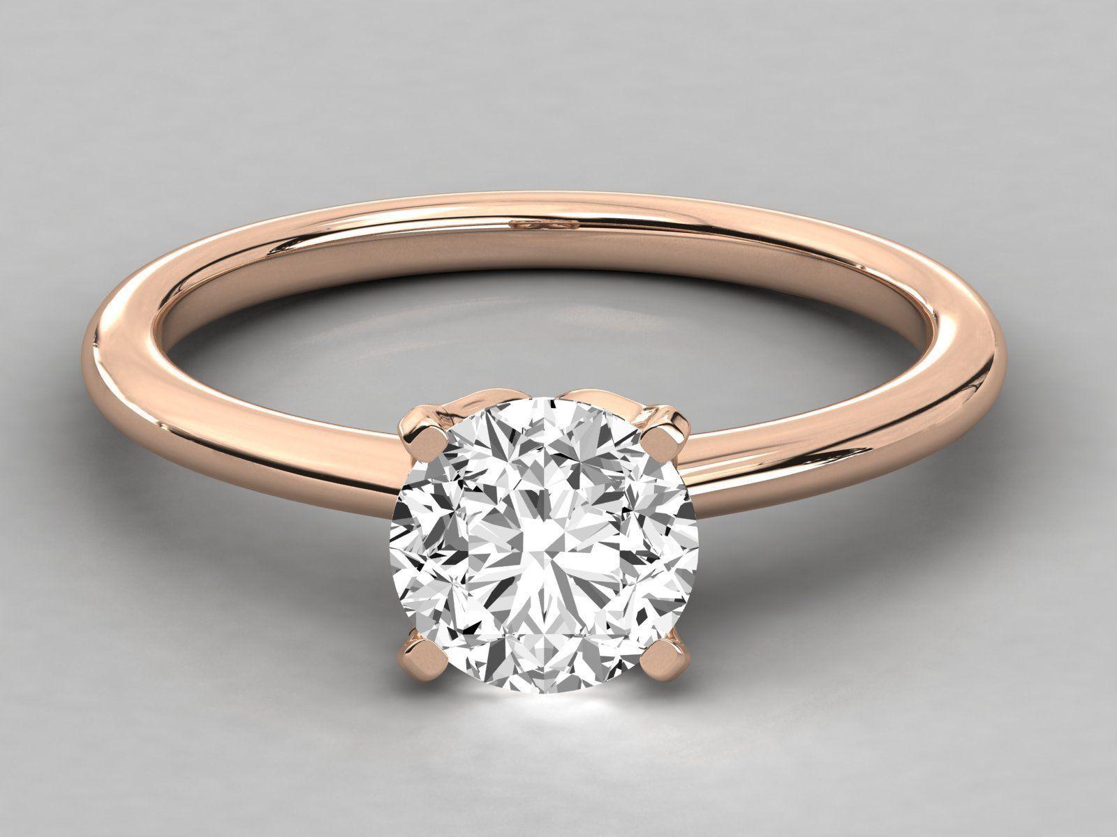 Women solitaire ring 3dm stl render detail
