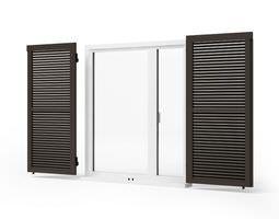 black wooden windows shutters - window shutters 72 am95 3d model