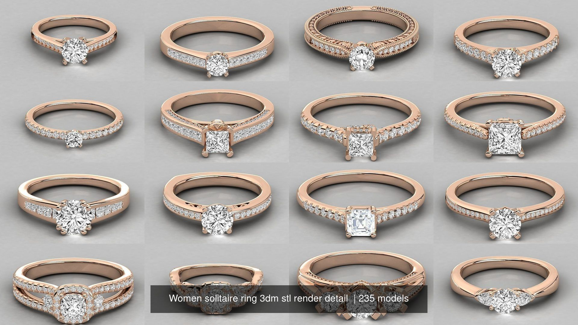235 Women solitaire ring 3dm stl 9 render detail