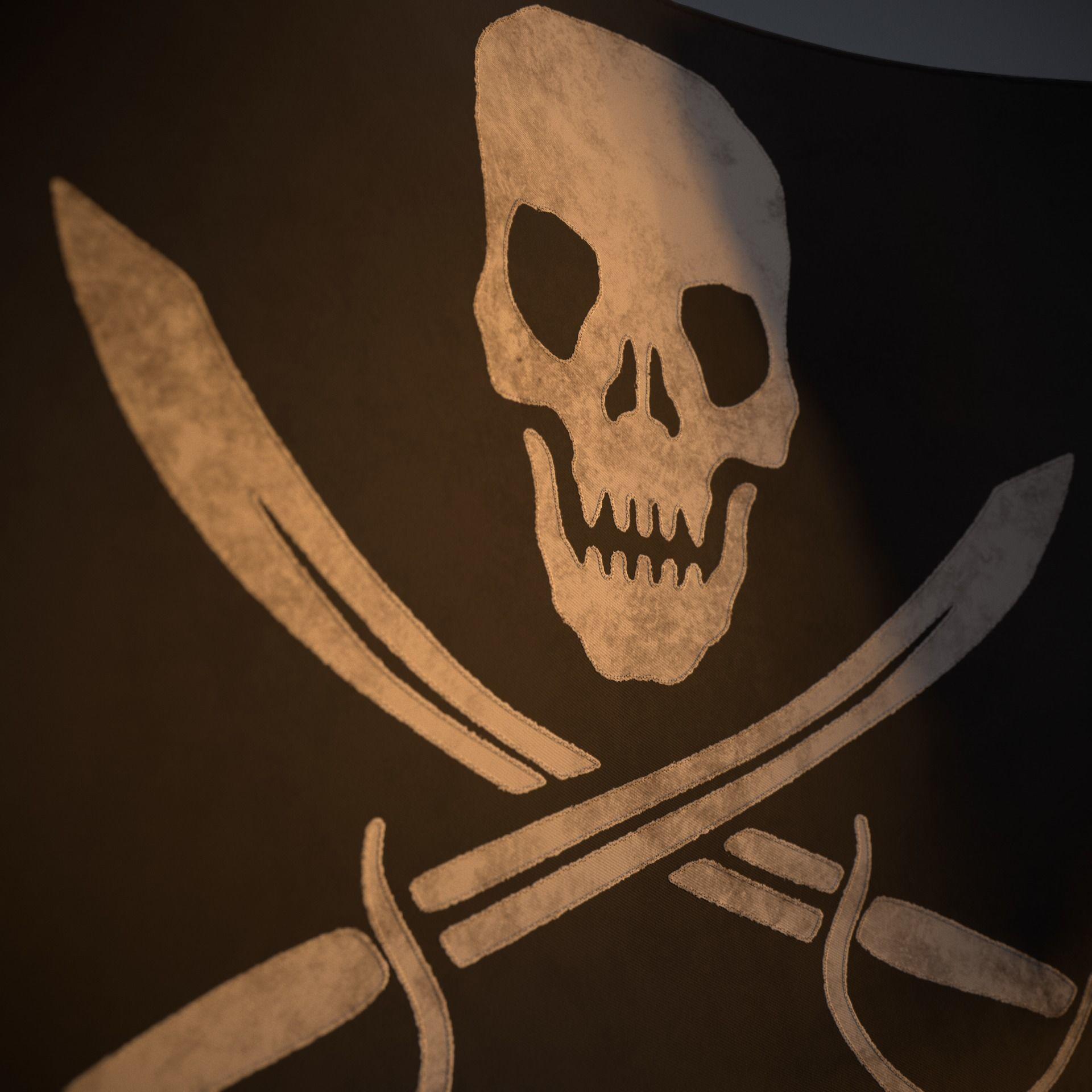 Animated Pirate Black Flag