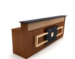 3d brown  wooden table reception desk 05 am89