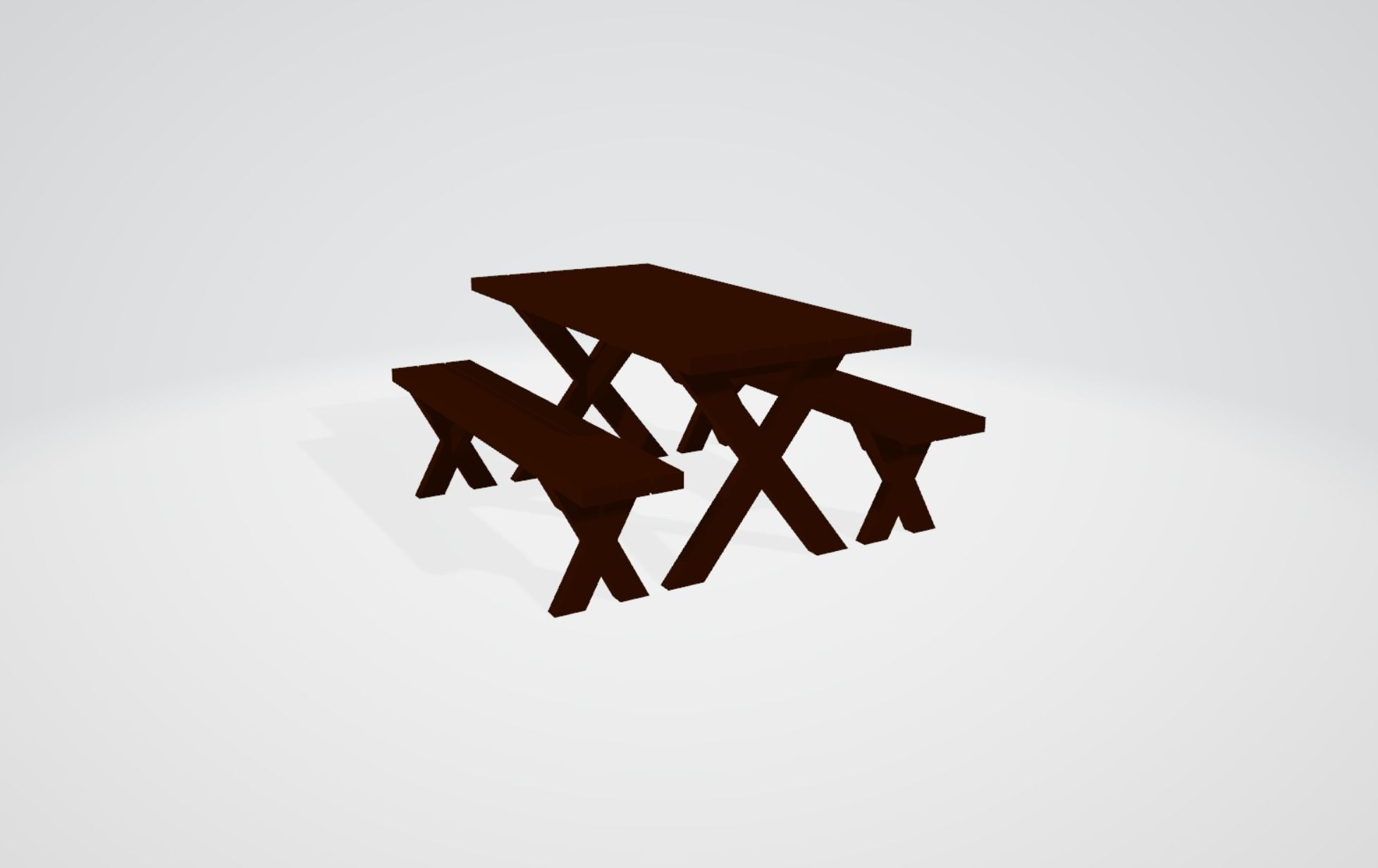 Wood Picnic Table with Separate Detached Benches