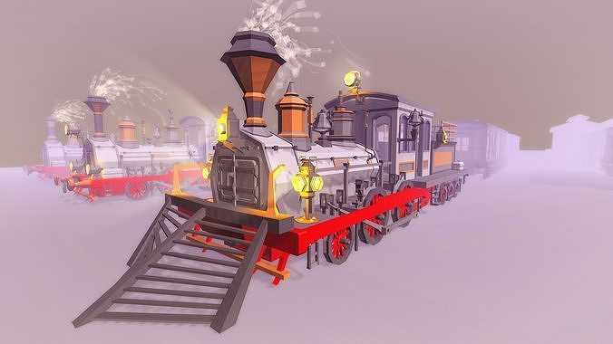 Steam Trains and Stations - Low Poly