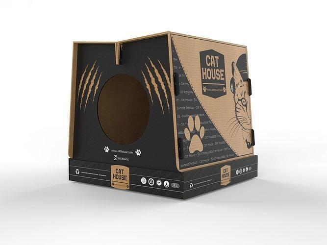Foldable Cardboard Cat House