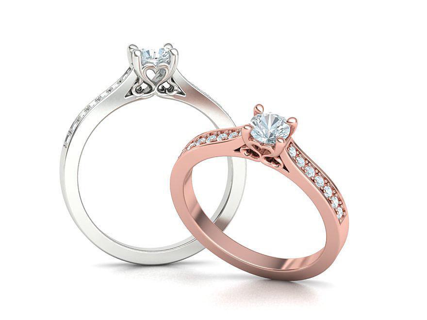 Solitaire Engagement ring Heart design Own design model