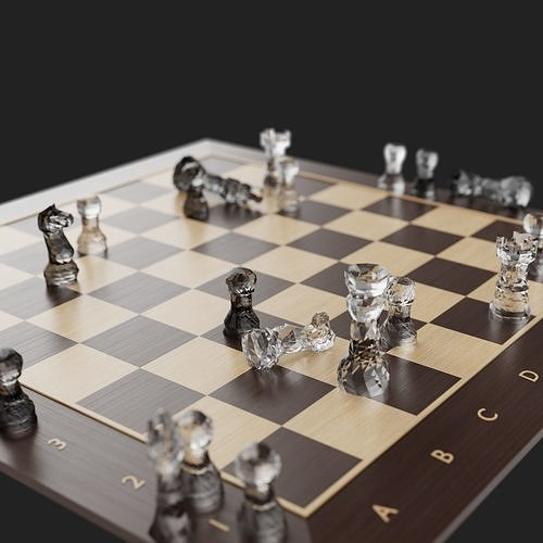 Low Poly  Glass Chess set