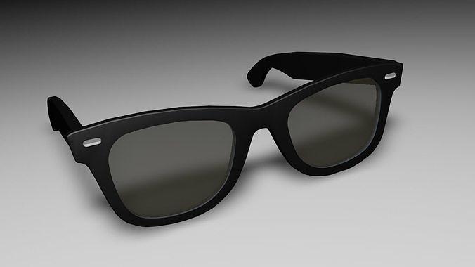 3d Rayban Style black sunglasses