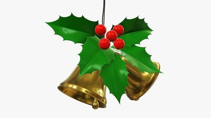 Christmas golden bells with holly berries