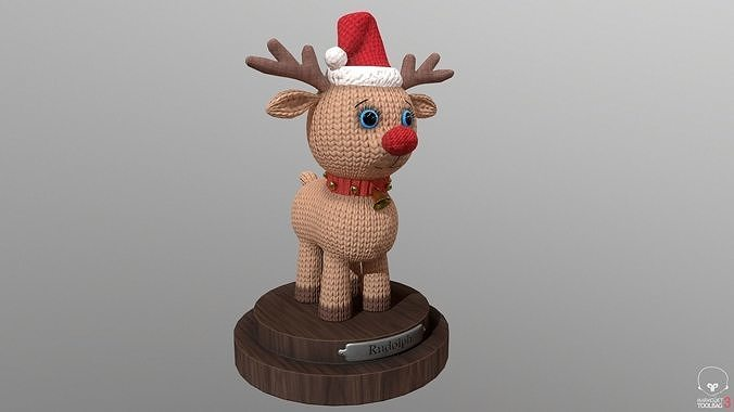 Knitted toy Christmas Rudolph 3d model