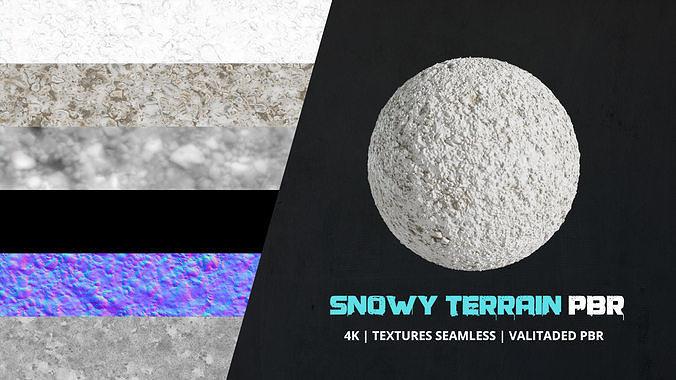Texture Snowy Terrain 4k Pbr - 16bit - 07