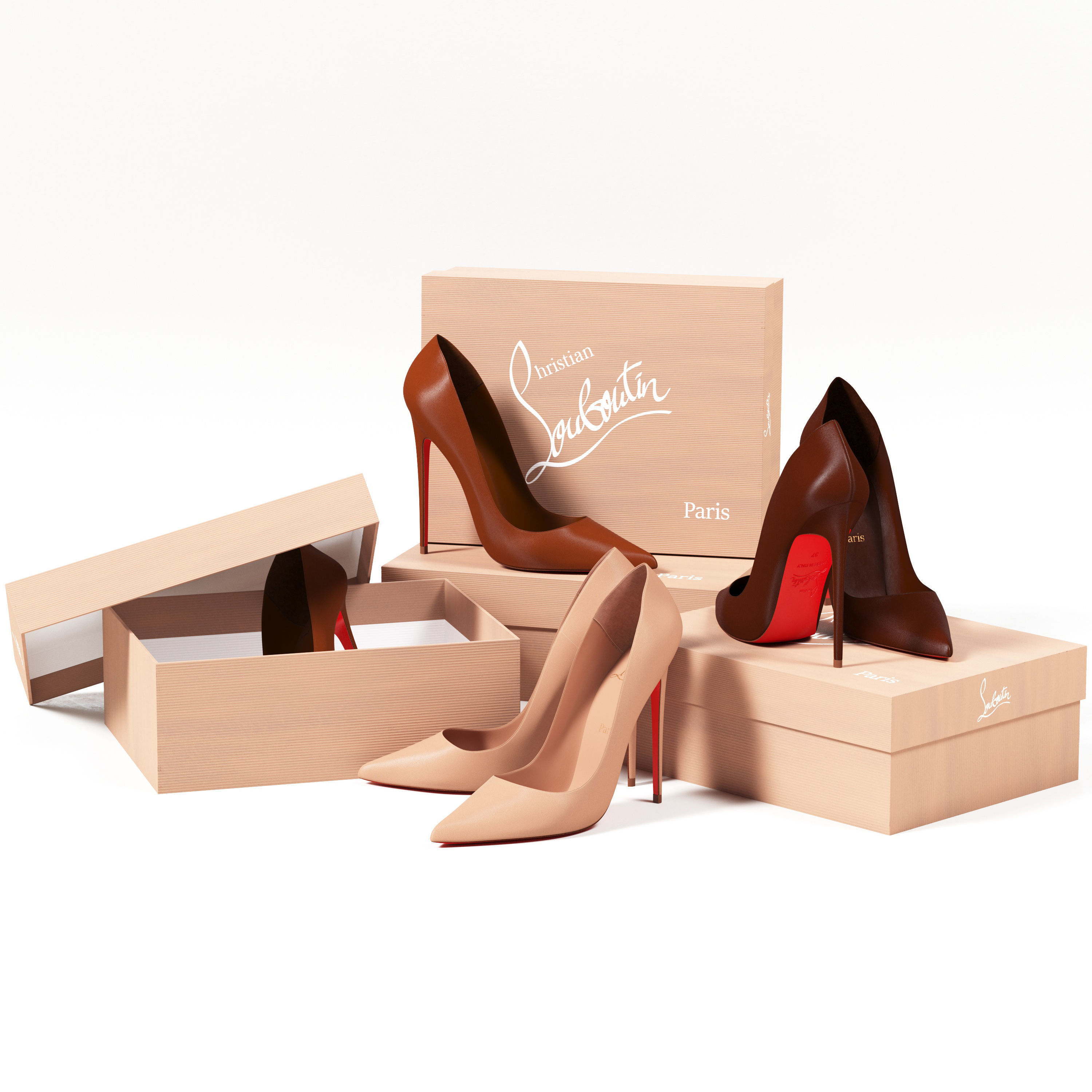 3D Christian Louboutin So Kate High Heels and Packaging