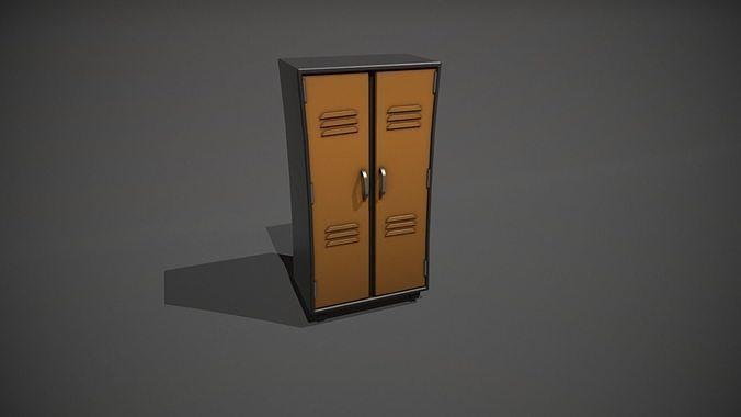 Orange and Black Stylized Locker