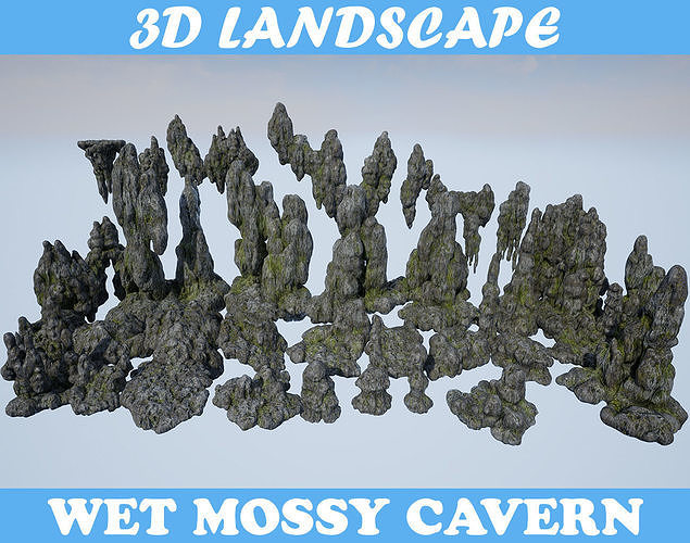 Low poly Mossy Cave Modular Column Pack 200802
