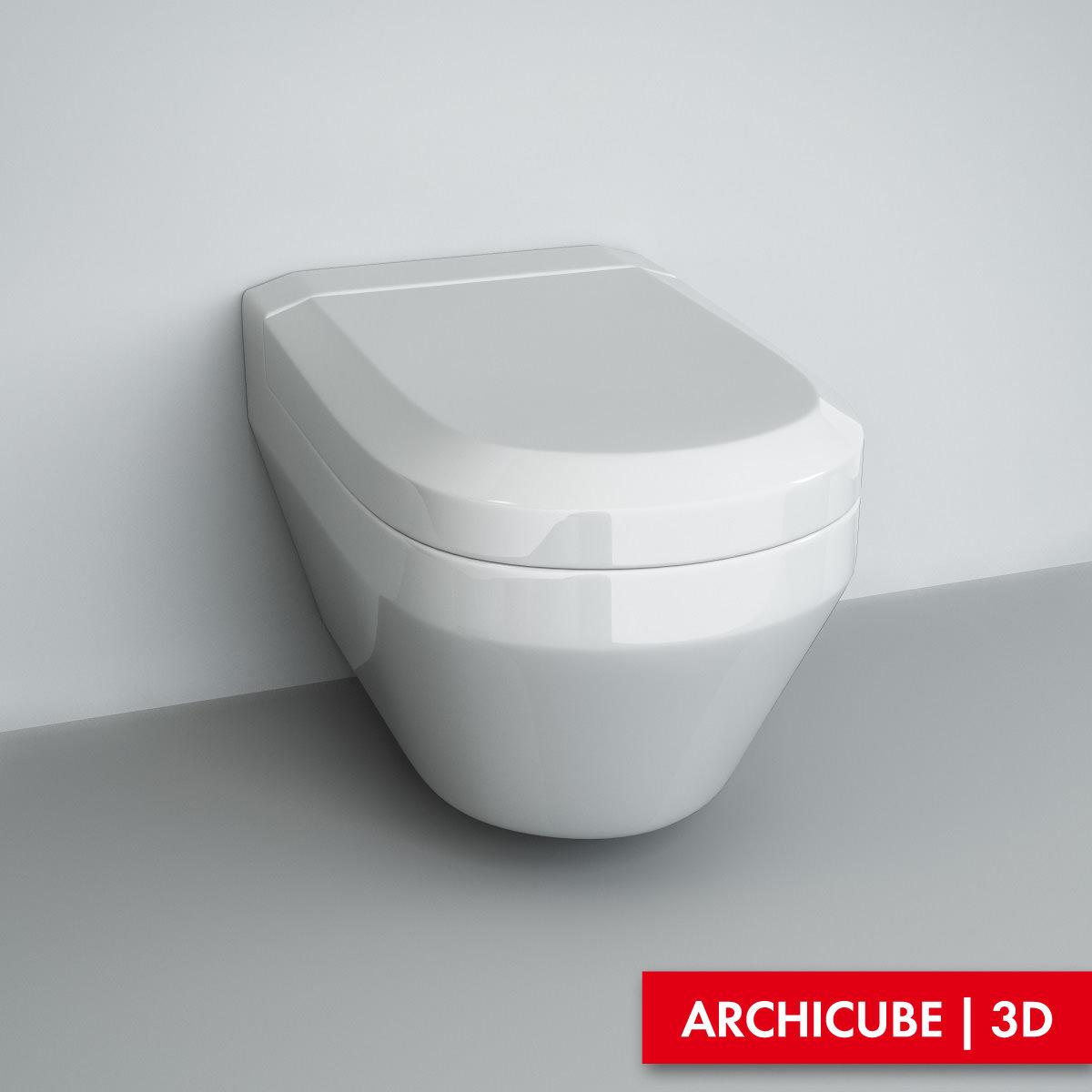 Wall mounted wc 3d model max obj fbx - Wc model ...