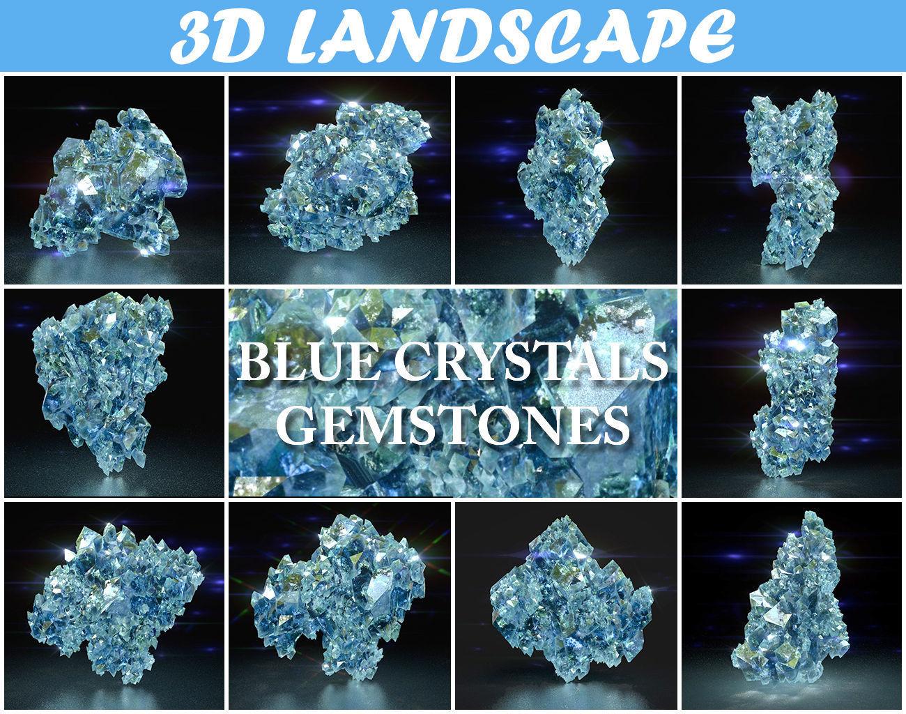 Low Poly Blue Crystal Gemstone Pack 200112