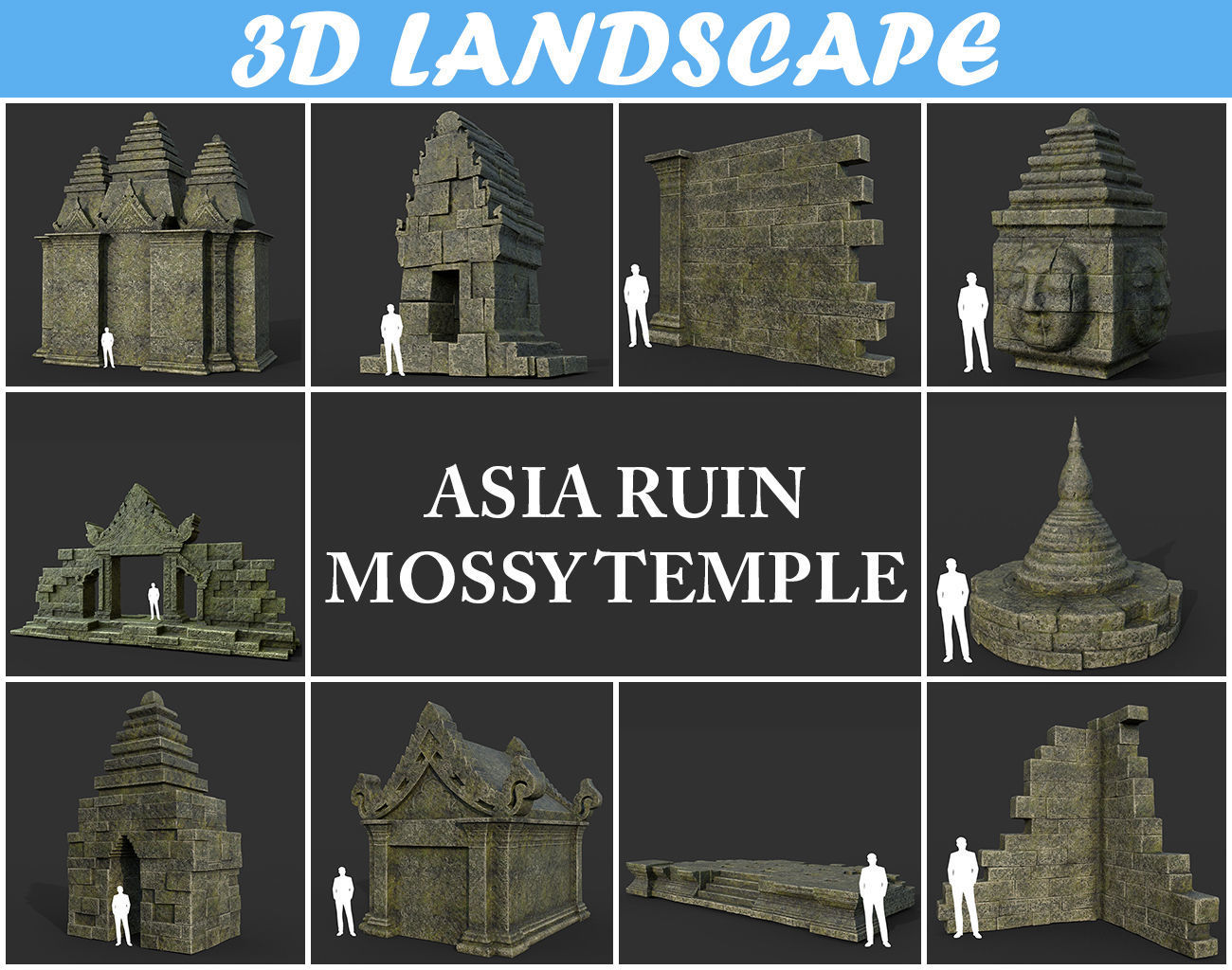 Low poly Mossy Mossy Ruin Asia Temple Pack