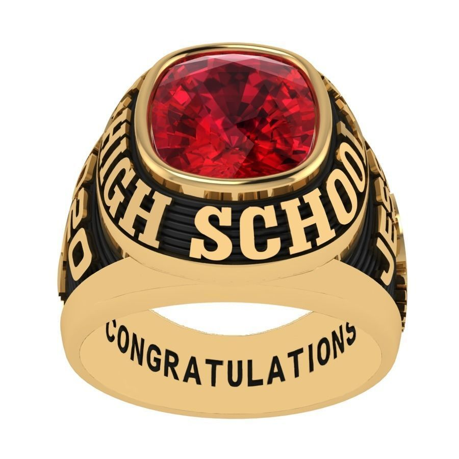 Personalized Class Ring 2  -Cushion Gem