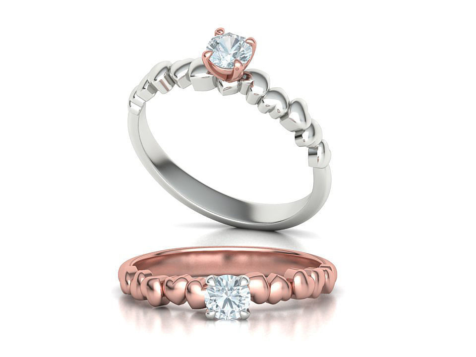 Solitaire Heart ring Promise ring 4mm Stone setting 3dmodel