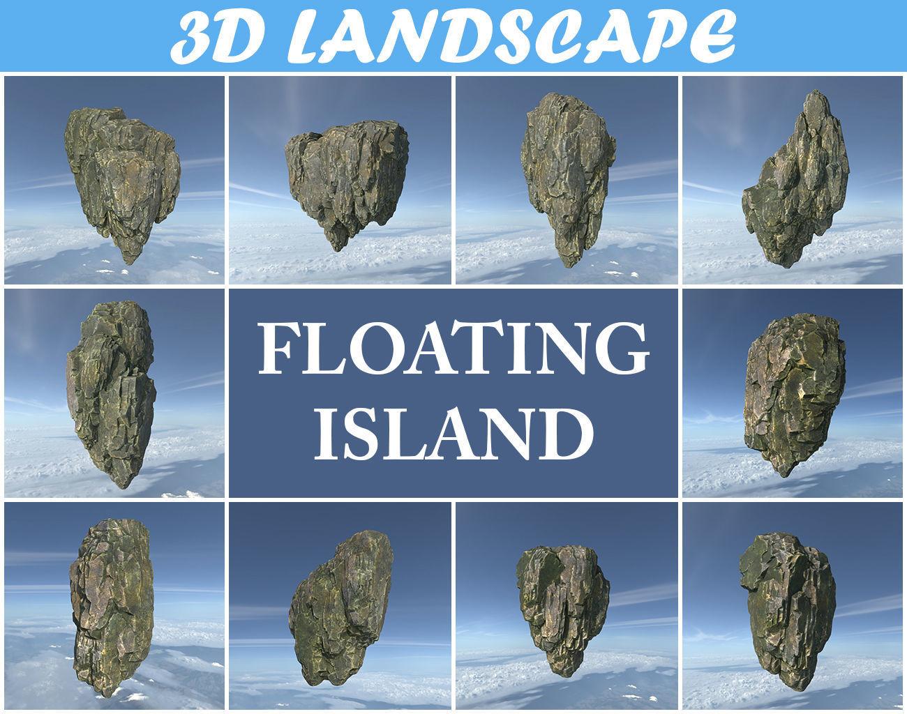 Low poly Fly Island Rock 01 200212