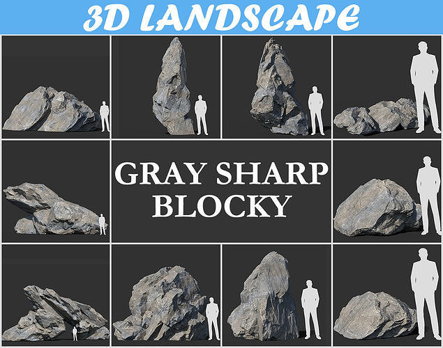 Low poly sharp blocky gray rock formation 181112
