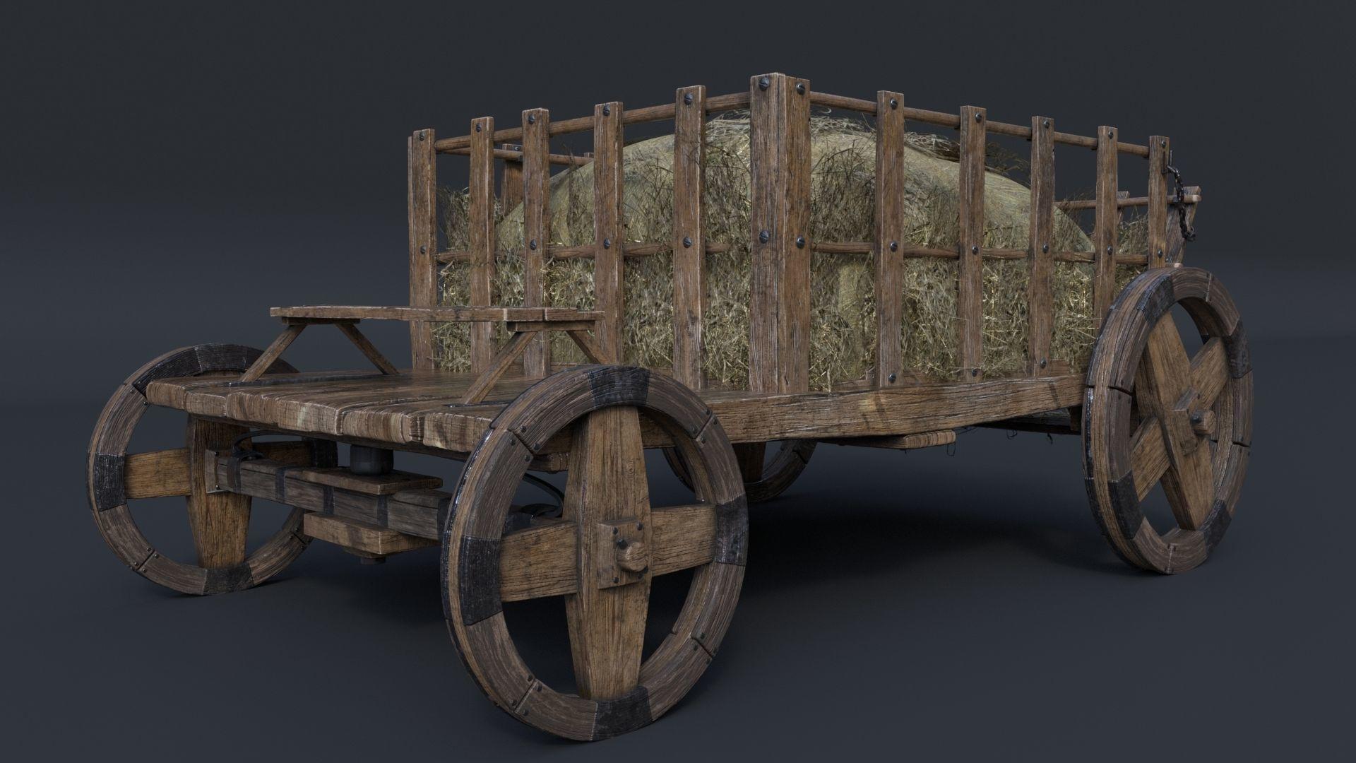Antique Vintage Rustic Wooden Cart