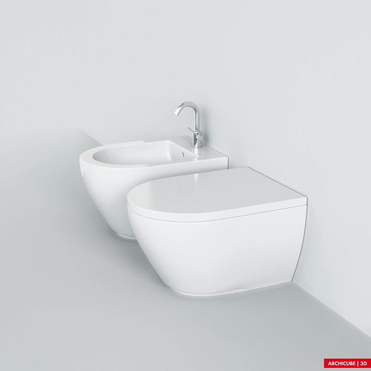 Toilet wc bidet 3d model max obj fbx - Wc model ...