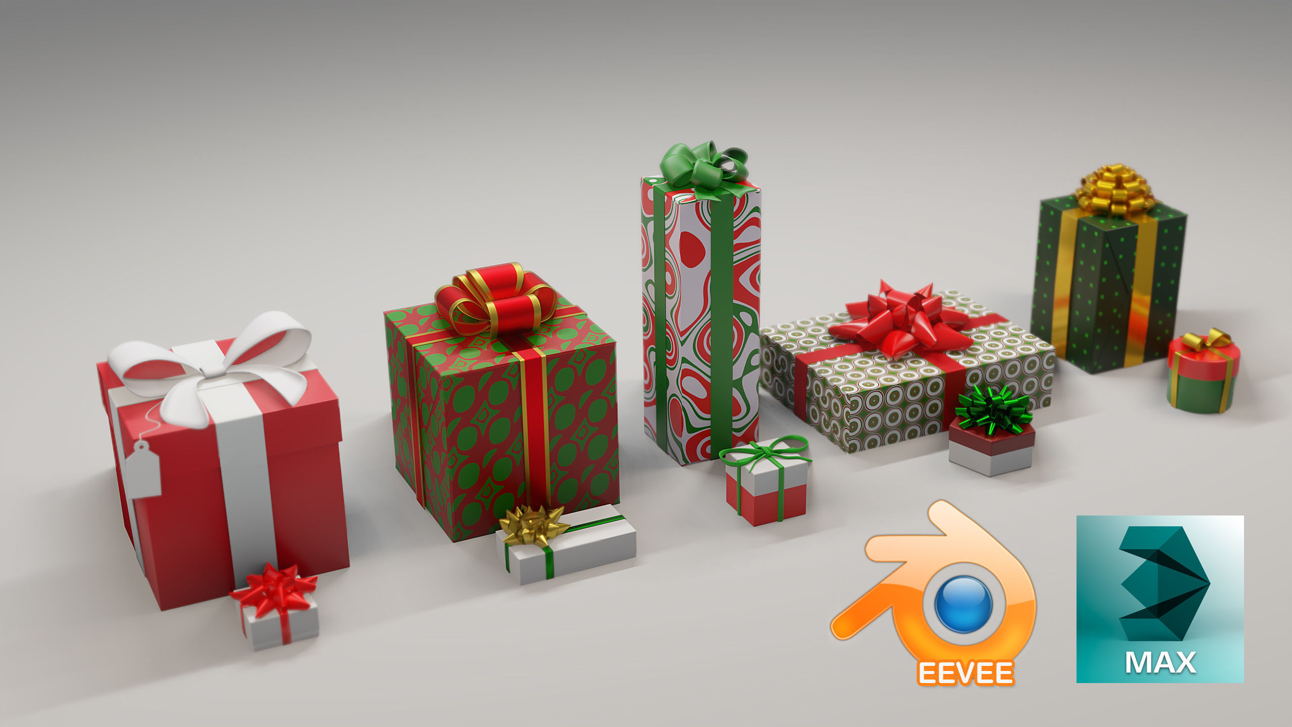 10 Christmas Gift Boxes and Bows