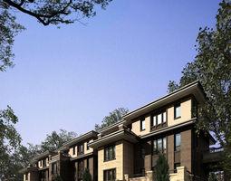 3d dark coloured realistic suburban house