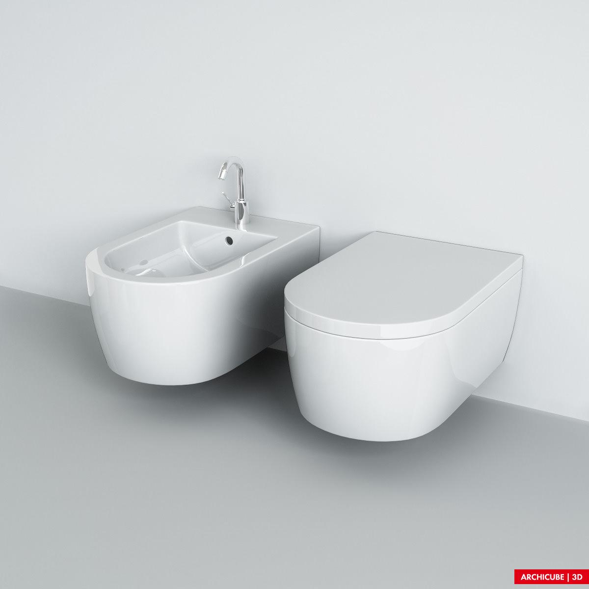 Wall mounted wc bidet 3d model max obj fbx - Wc model ...