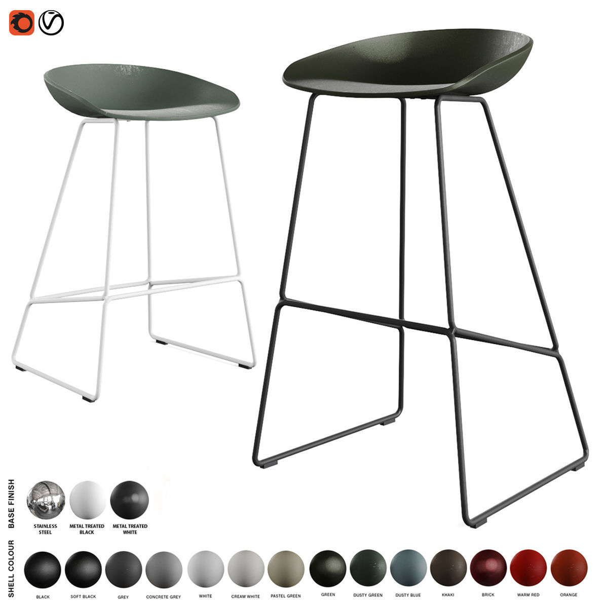 Hay - About A Stool Barstool and Counter Stool AAS 38