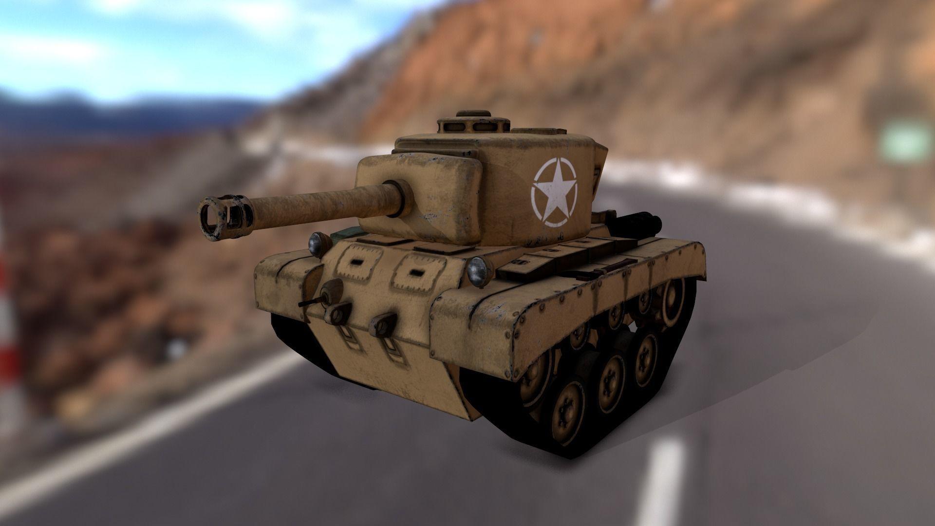 Stylized cartoon tank