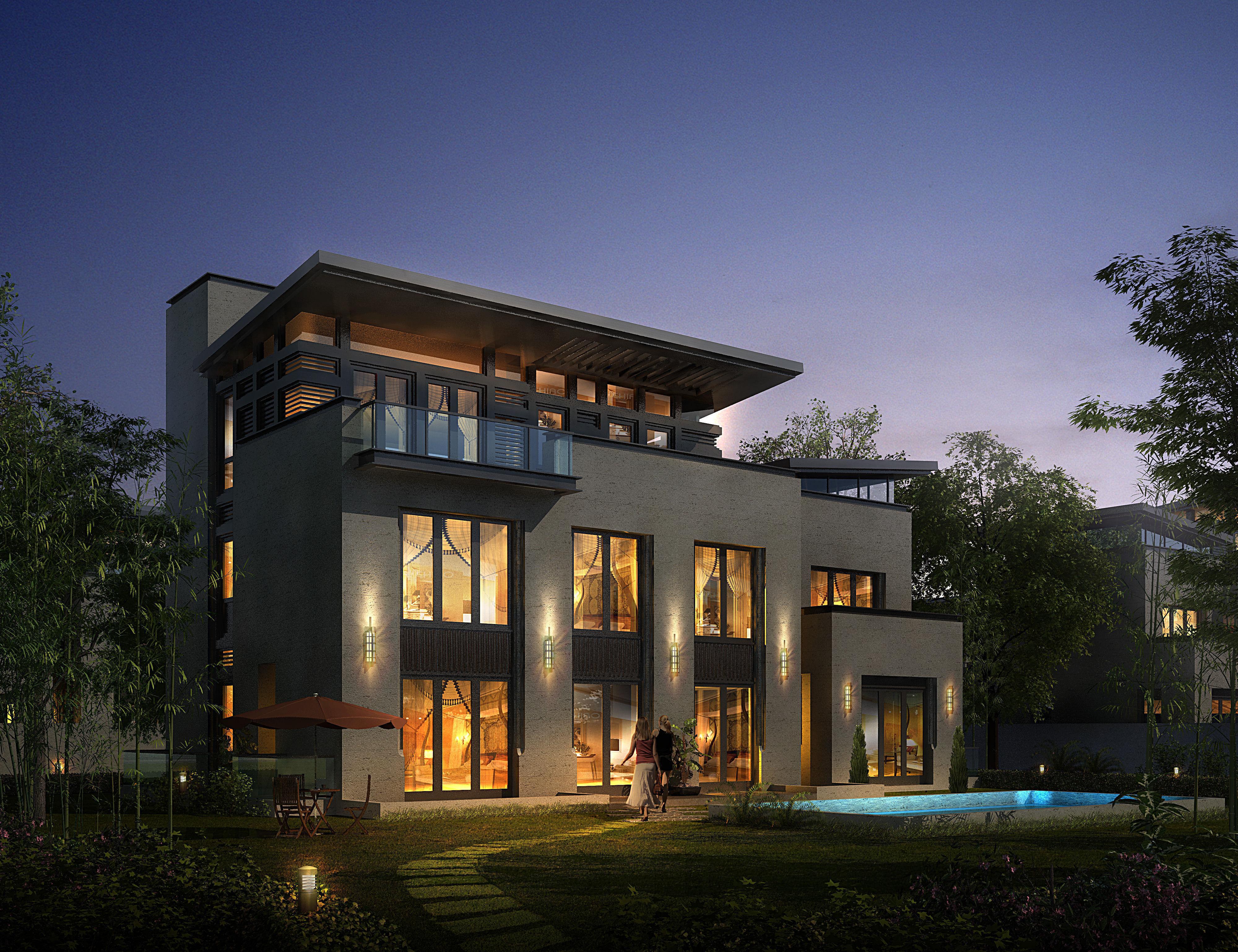 Modern suburban living house 3d model max 3