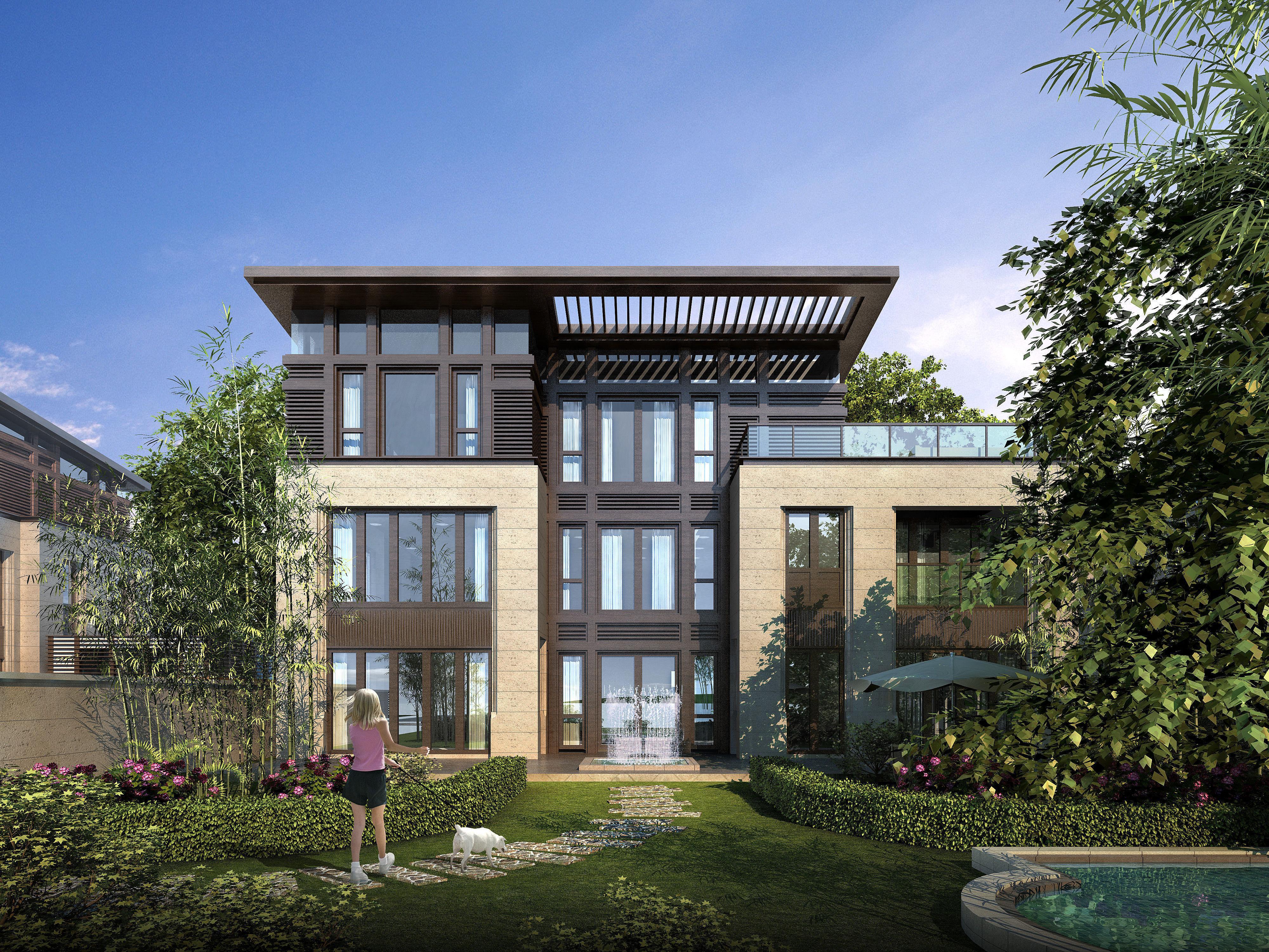 Modern suburban living house 3d model max 6