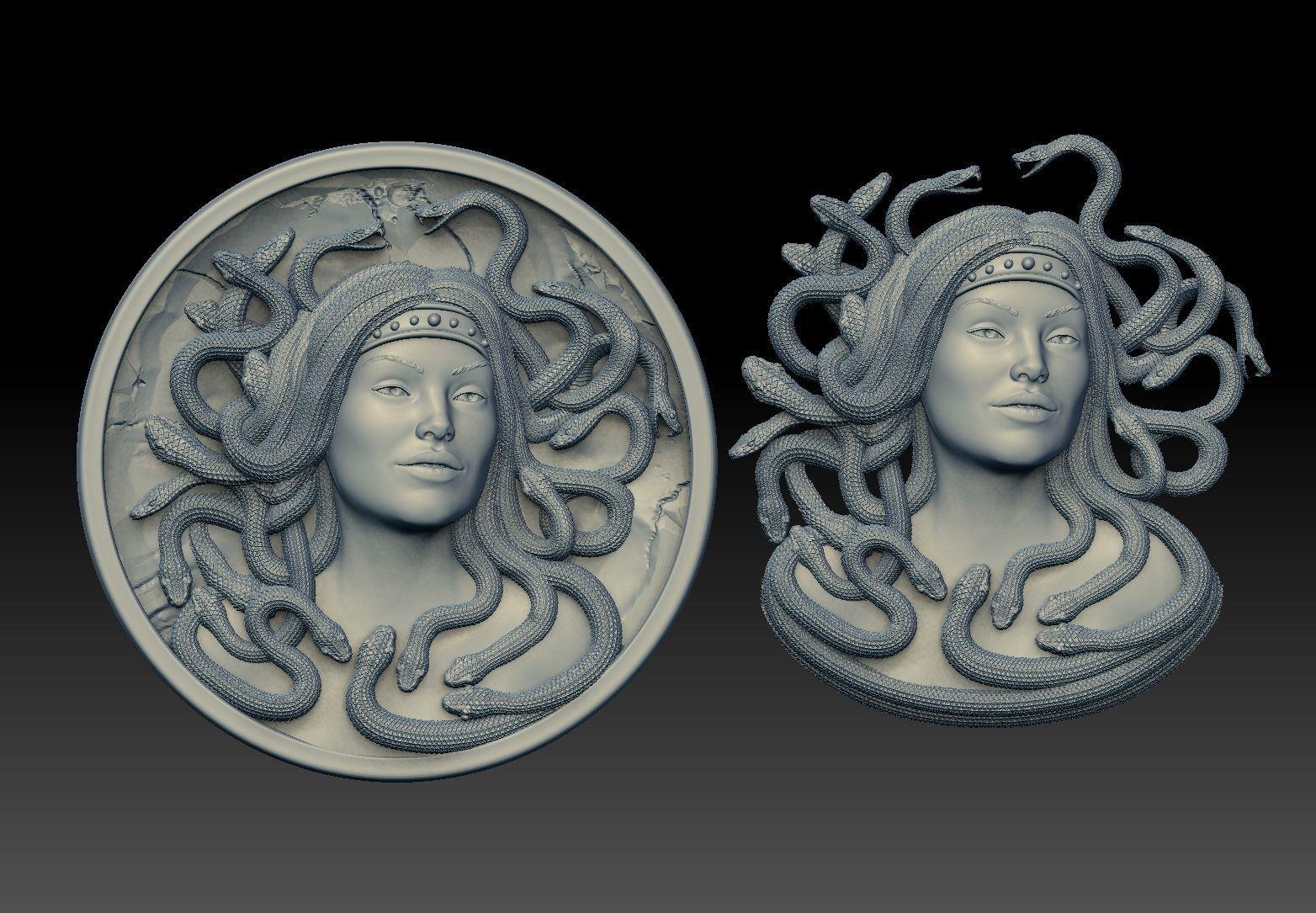 medusa pendant Bas-Relief  3D print model cnc