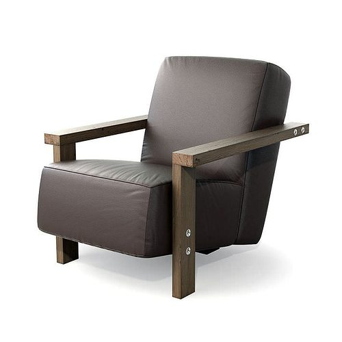brown leather armchair 27 am121 3d model obj mtl 1