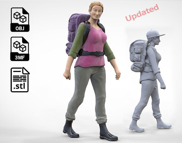N3 walking Hiker Woman 1 64 Miniature